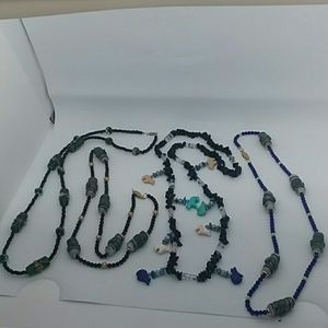4 piece Handmade Large Beaded Necklace Bundle